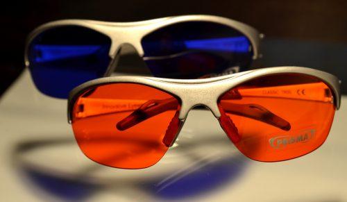 Farbtherapiebrillen orange indigo