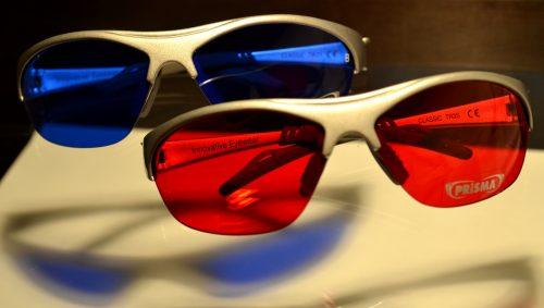 Farbtherapiebrillen rot blau