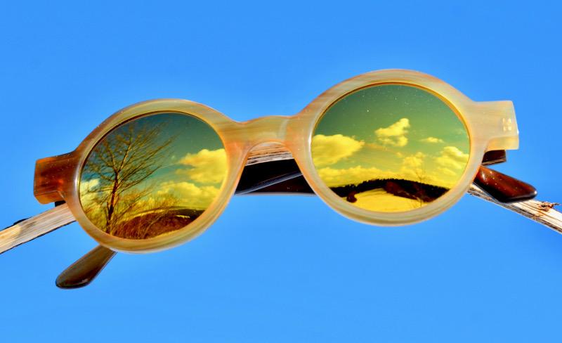 Brille aus Bueffelhorn mit Selbsttoenende Brillengläser mit Blaulichtschutz