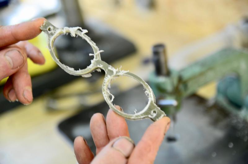 Ausgearbeitetes Frontteil Büffelhornbrille